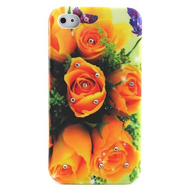 Yellow Rose Pattern Ultra Thin Hard Case for iPhone 4 and 4S