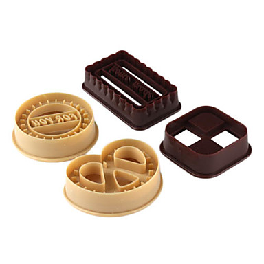 4pcs Set Round Square Heart Shape Cookie Mold DIY Buscuit Cutter Mould Baking Tools