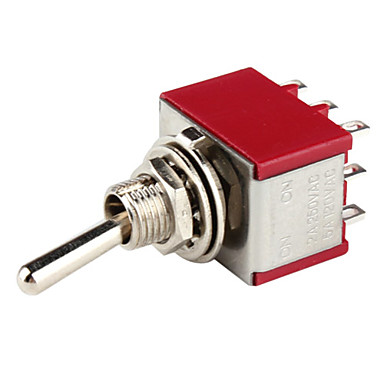 Electrical DIY Power Control 9-Pin Toggle Switch-Red Silver (5-Piece Pack)