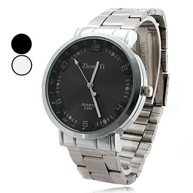 Erkek Elbise Saat Quartz Alaşım Bant Gümüş Beyaz Siyah