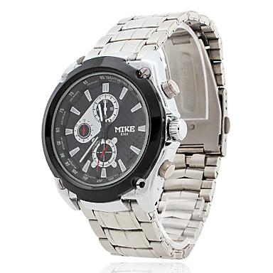 男性用の耐水合金アナログクォーツ腕時計(シルバー)