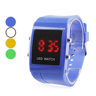 mænds plast digital LED armbåndsur (assorterede farver)
