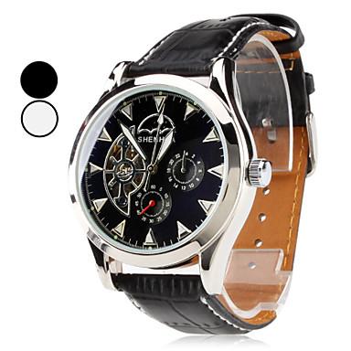 mannen pu analoge automatisch mechanisch horloge (zwart)