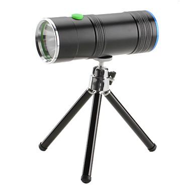 genopladelige 2-mode vandtæt 2-LED lommelygte sæt med stativ til fiskeri (160lm, ac oplader)