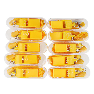 10 Yellow Plastic Whistles with Plastic Case (Yellow)