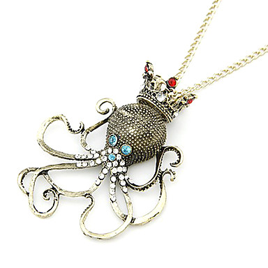 Gun Color Plated Vintage Octopus Alloy And Zircon Necklace