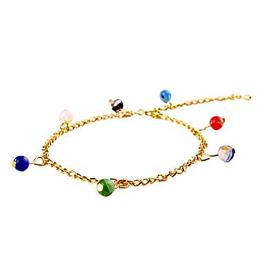 bracelete de ouro elegante com glóbulo colorido