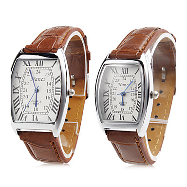 Couple's Quartz Wrist Watch Japanese Casual Watch PU Band Charm / Fashion Brown