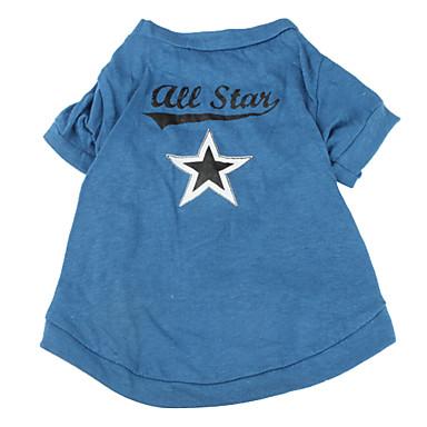 Köpek Tişört Köpek Giyimi Yıldızlar Mavi Pamuk Kostüm Evcil hayvanlar için
