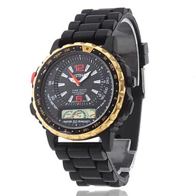 Unisex PU Analog Quartz Wrist Sports Watch (Black)