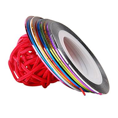 12 pcs 3D Çivi Çıkartmaları / Folyo sıyırma bandı Moda Günlük Tırnak Tasarımı Tasarımı