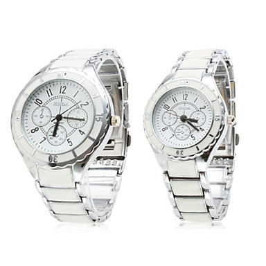 par de aleación de cuarzo analógico relojes blancos se enfrentan a un par (de color blanco plateado)
