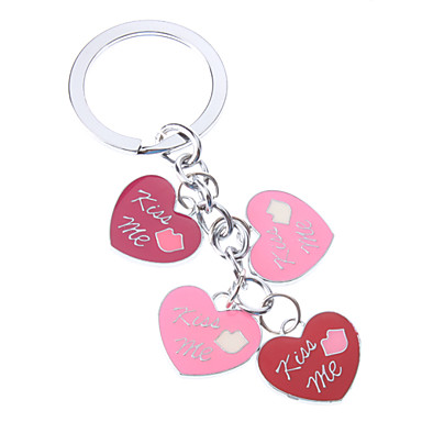 Multicolore KISS ME Metal Heart Keychain