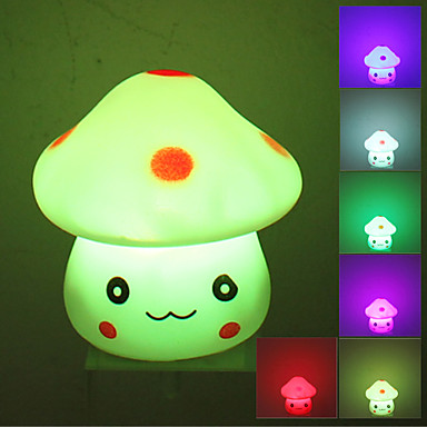 Lovely Mushroom Style Colorful Light LED Night Lamp (3xLR44)