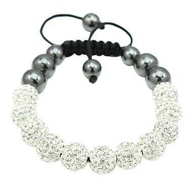 perlas de plata cuerda pulsera tejida