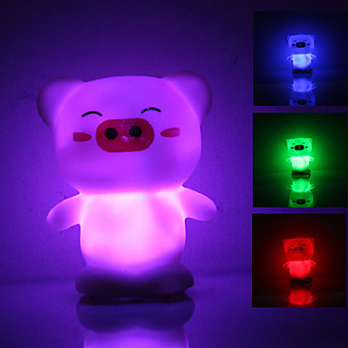 Cute Pig Shaped Colorful Light LED Night Lamp (3xLR44)