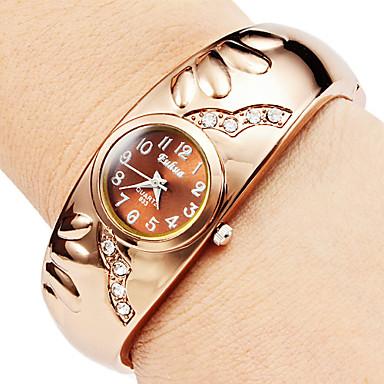 Недорогие Женские часы-Жен. Модные часы Часы-браслет Кварцевый Имитация Алмазный сплав Группа Кольцеобразный Элегантные часы Бронза