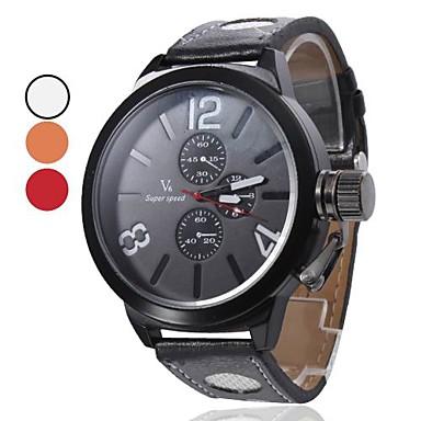 Quarzo Uomo PU analogico orologio da polso (nero)
