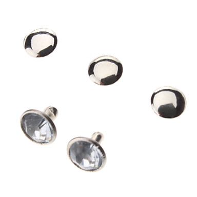 6mm Round Silver Metal Diamond-studded Rivets (Contain 50 Pics)