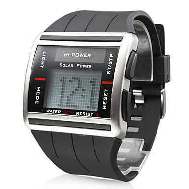 Men's Watch Sports Solar Powered Scrollable Digit