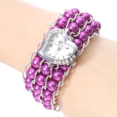 Armbåndsur Japansk Quartz Bånd Perler Elegante Hvid Sort Lilla Blå Lys pink