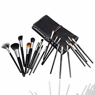 High class mixed wool hair makeup brush set with elegant black case (19 pcs)