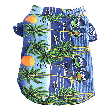cheap Dog Clothing & Accessories-Cat Dog Shirt / T-Shirt Dog Clothes Floral / Botanical Yellow Blue Rainbow Cotton Costume For Summer Men's Women's Holiday Fashion