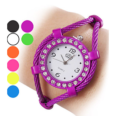 Women's Quartz Bracelet Watch Hot Sale Alloy Band Sparkle Fashion Bangle Black White Blue Orange Green Purple Yellow Rose