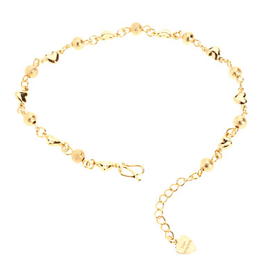 Dull Polish Bead Heart Shaped Gold-plated Bracelace