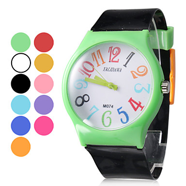 Unisex Rubber Analog Quartz Wrist Watch (Balck)