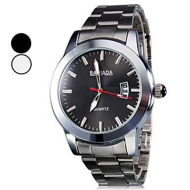 Calendário dos homens do estilo da liga relógio de pulso de quartzo analógico (Prata)