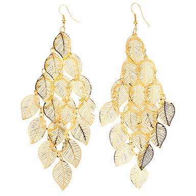Kadın Damla Küpeler alaşım Leaf Shape Mücevher Uyumluluk Parti