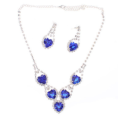 Sapphire Heart-shaped Diamond Plating Silver Earrings Necklace Suits