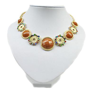 Flash Diamond Colored Circles Short Necklace