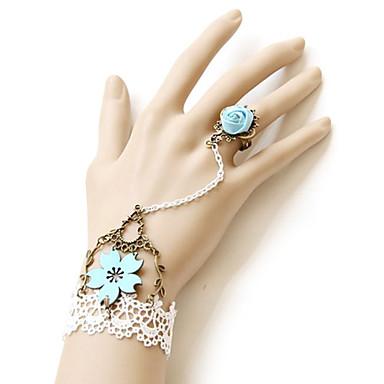 Blue Flower Pattern White Lace Bracelet