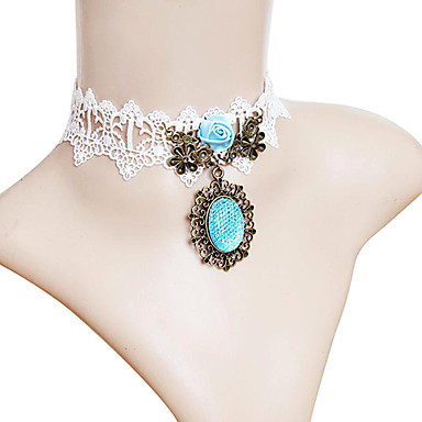 Blue Crystal & Blue Rose White Lace Necklace