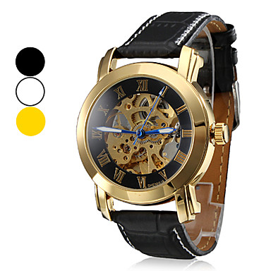 Men's Hollow Style PU Analog Mechanical Water Resistant Wrist Watch (Assorted Colors) Cool Watch Unique Watch