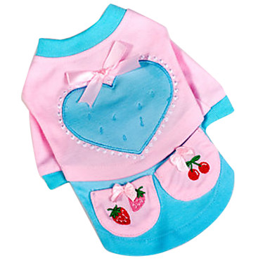 Heart Pattern T-Shirt with Two Small Pocket for Dogs (XS-XL)