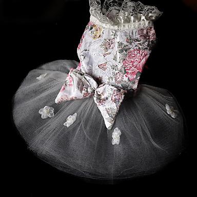 Estilo chino del patrón de flor vestidos de malla de empalme para los perros (XS-L)