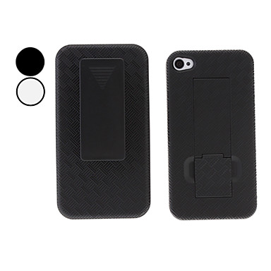 Grid Style Full Body Hard Case with Clip for iPhone 4 and 4S (Assorted Colors)