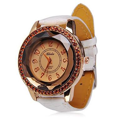 Tempestato di diamanti Quadrante cinturino in pelle al quarzo orologio da polso da donna