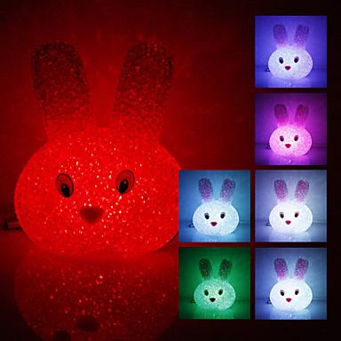 Crystal Konijn Shaped kleur veranderende led nachtlampje (USB)