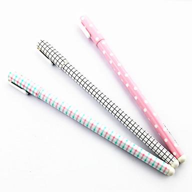 Stripe Pattern Black Ink Gel Pen(Random Colors 1PCS)