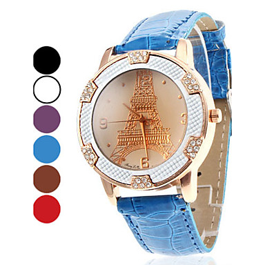 Women's Eiffel Tower Style PU Analog Quartz Wrist Watch (Assorted Colors) Cool Watches Unique Watches