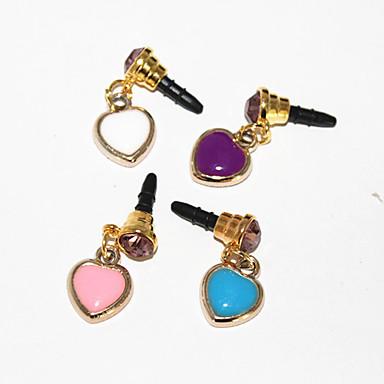 3,5 mm Acrílico Zircon Corazón Patrón anti-polvo para auriculares Jack para iPhone 4/4S/5 (colores aleatorios)