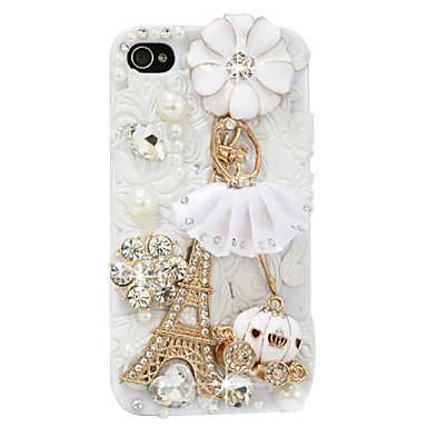 Luxurious Leather Eiffel Tower Pattern Hard Case for iPhone 4/4S (White)