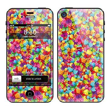 화려한 꽃 무늬 정면과 아이폰 5에 대한 뒤 가득 차있는 몸 보호자 스티커