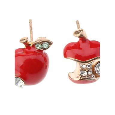 Dame Stangøreringe Syntetisk Diamant Sød Stil Simuleret diamant Legering Apple Smykker Daglig
