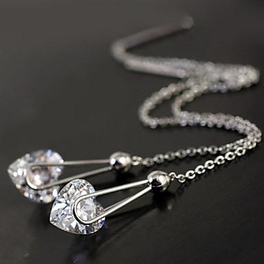 Lureme®Silver Pltaed Alloy Zircon Heart Pendant Earrings