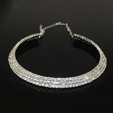 Kadın's Kristal Tenis zinciri Gerdanlıklar - Zirkon, Yapay Elmas, Gümüş Kaplama Moda Gümüş Kolyeler Uyumluluk Parti